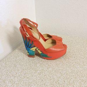 Nine West Red Orange Leather Platform Sandals